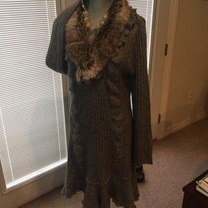 Sweater dress with faux trim